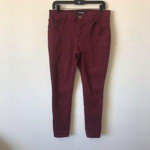 Express burgundy mid rise stretch legging jeans